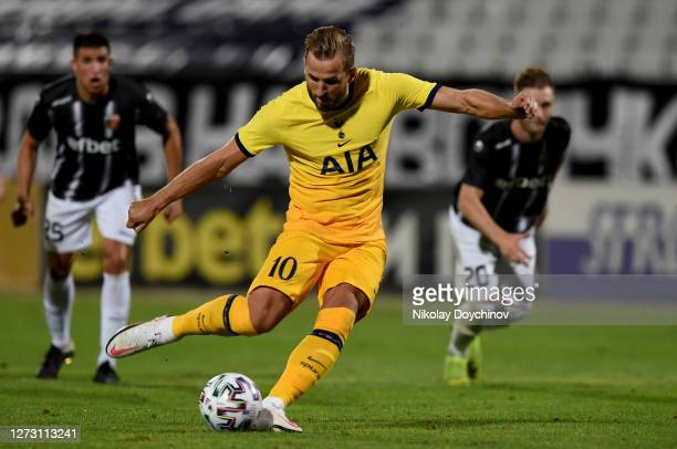 Harry Kane of Tottenham Hotspur scores his team's first goal from the penalty spot during the UEFA Europa League second qualifying round match...