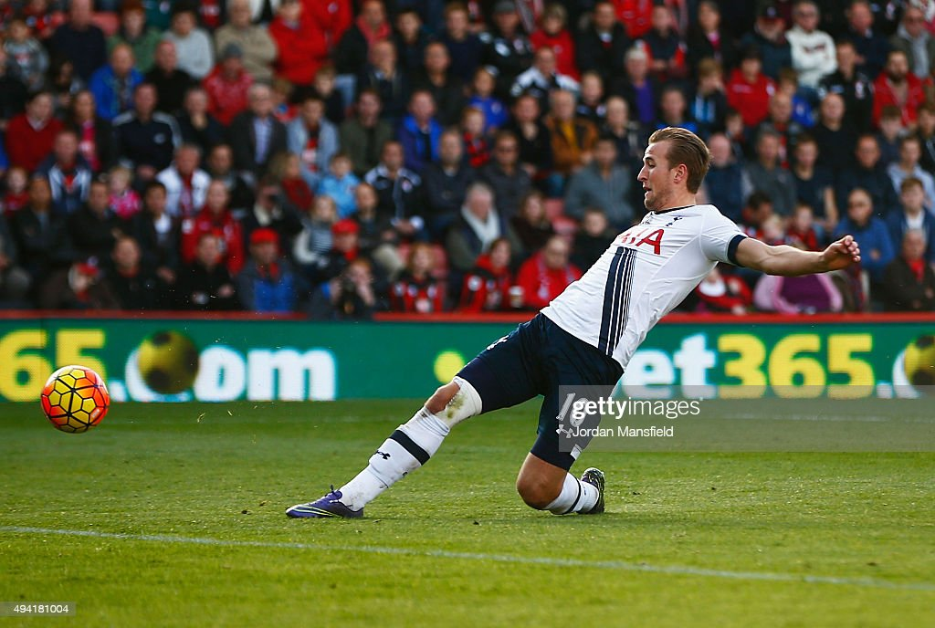 Harry Kane of Tottenham Hotspur scores his team's fourth goal during the Barclays Premier League match between A.F.C. Bournemouth and Tottenham Hotspur at Vitality Stadium on October 25, 2015 in Bournemouth, England.