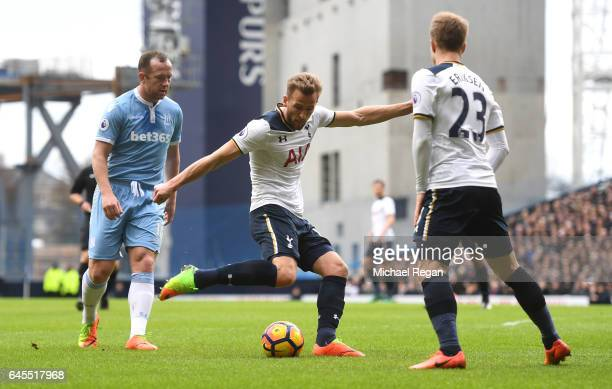 Harry Kane of Tottenham Hotspur scores his teams opener during the Premier League match between Tottenham Hotspur and Stoke City at White Hart Lane...