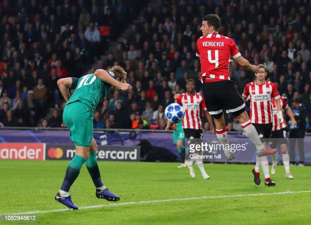 Harry Kane of Tottenham Hotspur scores his team's second goal during the Group B match of the UEFA Champions League between PSV and Tottenham Hotspur...