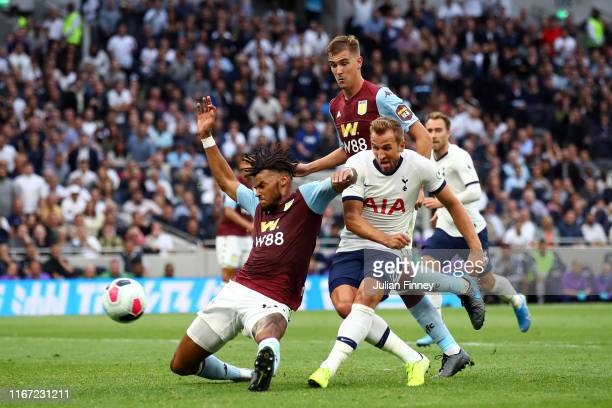 Harry Kane of Tottenham Hotspur scores his team's second goal during the Premier League match between Tottenham Hotspur and Aston Villa at Tottenham...