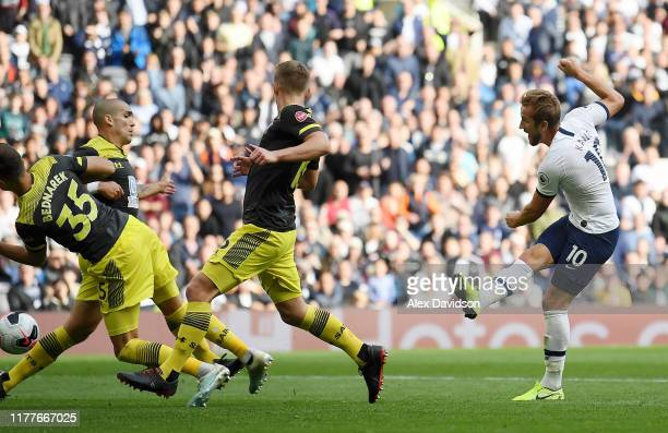 Harry Kane of Tottenham Hotspur scores his team's second goal during the Premier League match between Tottenham Hotspur and Southampton FC at...