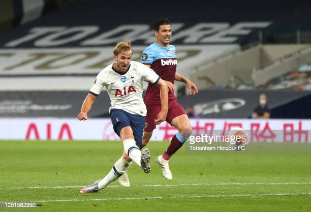 Harry Kane of Tottenham Hotspur scores his team's second goal during the Premier League match between Tottenham Hotspur and West Ham United at...