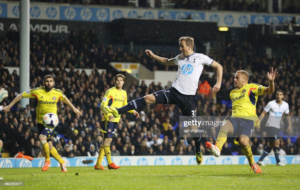 Harry Kane of Tottenham Hotspur scores his team's second goal during the Barclays Premier League match between Tottenham Hotspur and Sunderland at White Hart Lane on April 7, 2014 in London, England.