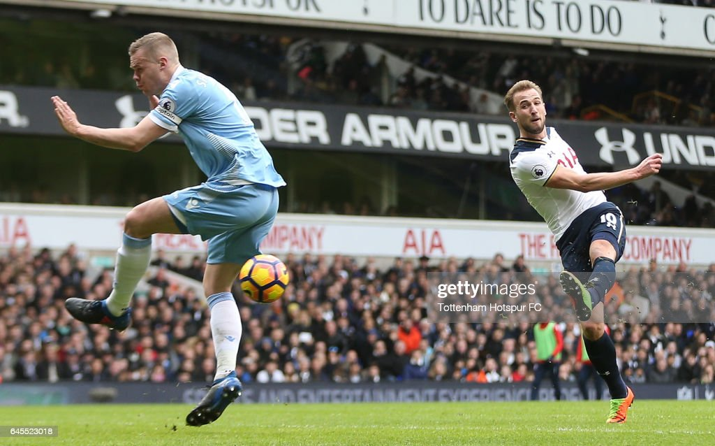 Harry Kane of Tottenham Hotspur scores his teams second goal during the Premier League match between Tottenham Hotspur and Stoke City at White Hart Lane on February 26, 2017 in London, England.
