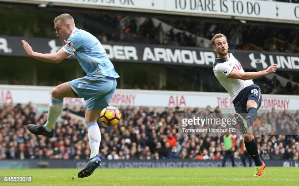 Harry Kane of Tottenham Hotspur scores his teams second goal during the Premier League match between Tottenham Hotspur and Stoke City at White Hart...