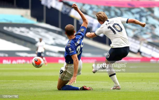 Harry Kane of Tottenham Hotspur scores his team's third goal during the Premier League match between Tottenham Hotspur and Leicester City at...