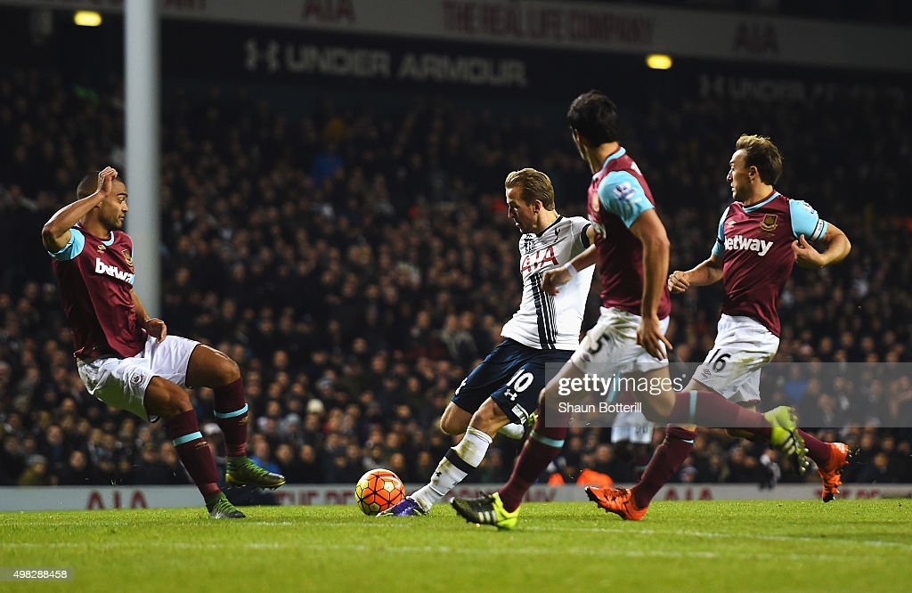 Harry Kane of Tottenham Hotspur scores his teams third goal during the Barclays Premier League match between Tottenham Hotspur and West Ham United at White Hart Lane on November 22, 2015 in London, England.