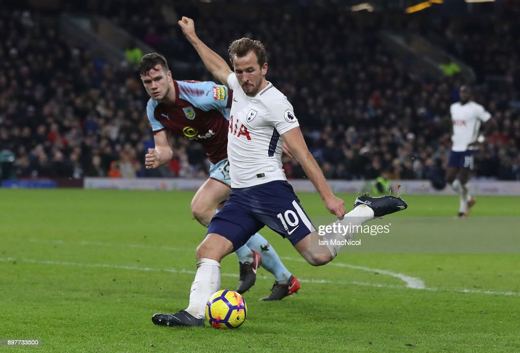 Harry Kane of Tottenham Hotspur scores his third goal during the Premier League match between Burnley and Tottenham Hotspur at Turf Moor on December 23, 2017 in Burnley, England.
