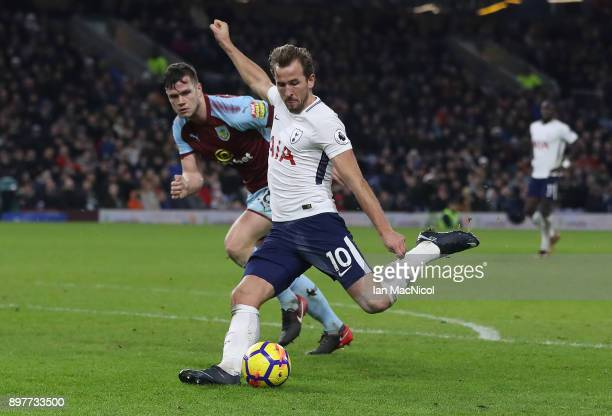 Harry Kane of Tottenham Hotspur scores his third goal during the Premier League match between Burnley and Tottenham Hotspur at Turf Moor on December...