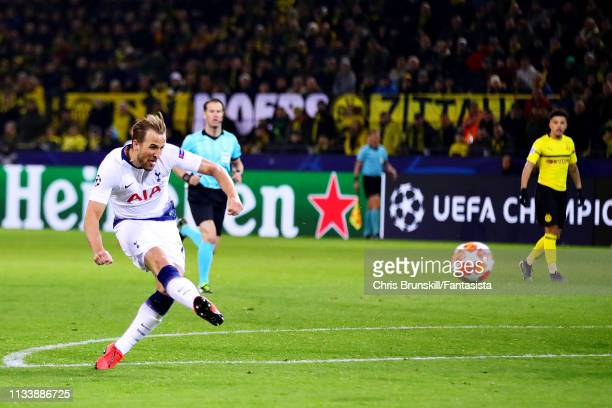 Harry Kane of Tottenham Hotspur scores the opening goal during the UEFA Champions League Round of 16 Second Leg match between Borussia Dortmund and...