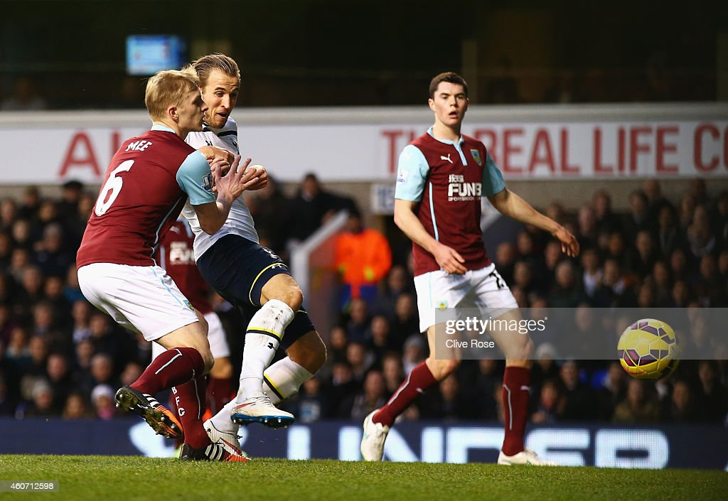 Harry Kane of Tottenham Hotspur scores the opening goal during the Barclays Premier League match between Tottenham Hotspur and Burnley at White Hart Lane on December 20, 2014 in London, England.