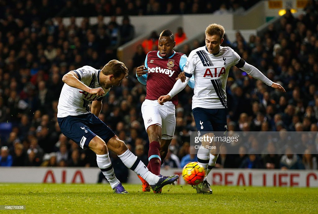 Harry Kane of Tottenham Hotspur scores the opening goal during the Barclays Premier League match between Tottenham Hotspur and West Ham United at White Hart Lane on November 22, 2015 in London, England.