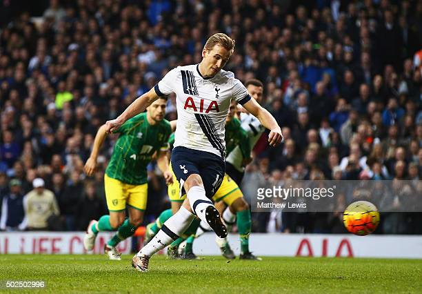 Harry Kane of Tottenham Hotspur scores the opening goal from the penalty spot during the Barclays Premier League match between Tottenham Hotspur and...