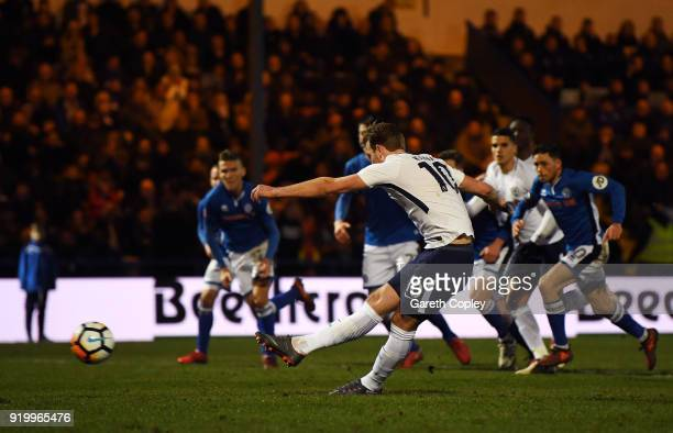 Harry Kane of Tottenham Hotspur scores the second Tottenham Hotspur goal from the penalty spot during The Emirates FA Cup Fifth Round match between...