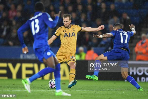 Harry Kane of Tottenham Hotspur scores their fifth goal and completes his hat trick during the Premier League match between Leicester City and...