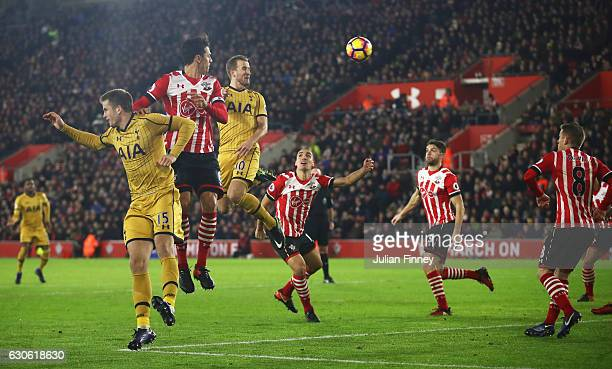 Harry Kane of Tottenham Hotspur scores their second goal during the Premier League match between Southampton and Tottenham Hotspur at St Mary's...