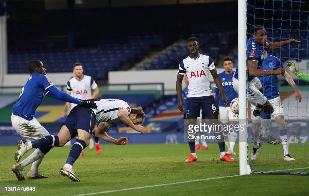 Harry Kane of Tottenham Hotspur scores their side's fourth goal during The Emirates FA Cup Fifth Round match between Everton and Tottenham Hotspur at...