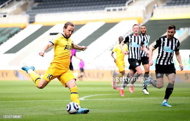Harry Kane of Tottenham Hotspur scores their side's second goal during the Premier League match between Newcastle United and Tottenham Hotspur at St....