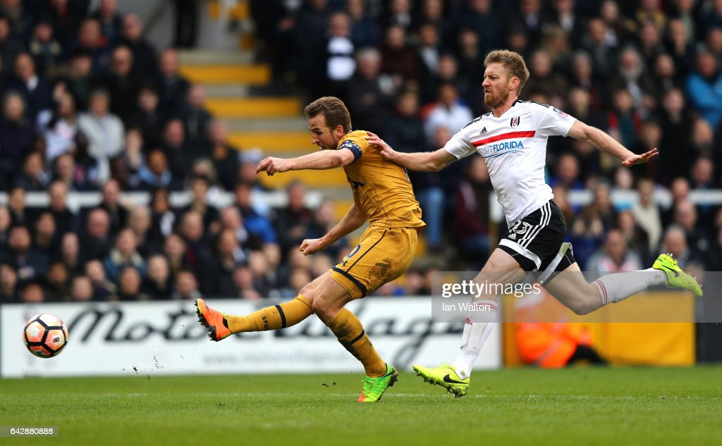 Harry Kane of Tottenham Hotspur scores their third goal and completes his hat trick during The Emirates FA Cup Fifth Round match between Fulham and Tottenham Hotspur at Craven Cottage on February 19, 2017 in London, England.