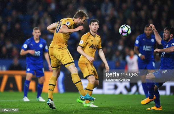 Harry Kane of Tottenham Hotspur scores their third goal during the Premier League match between Leicester City and Tottenham Hotspur at The King...