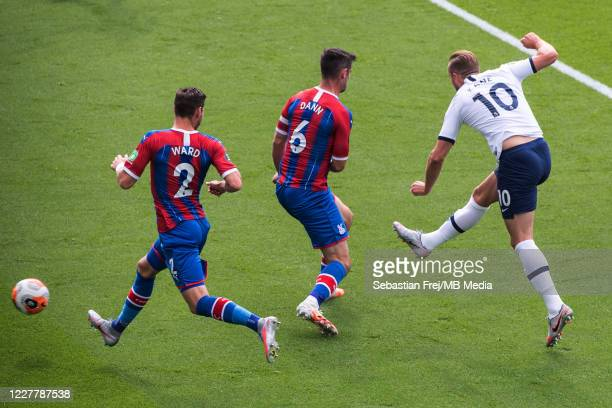 Harry Kane of Tottenham Hotspur scoring 1st goal during the Premier League match between Crystal Palace and Tottenham Hotspur at Selhurst Park on...