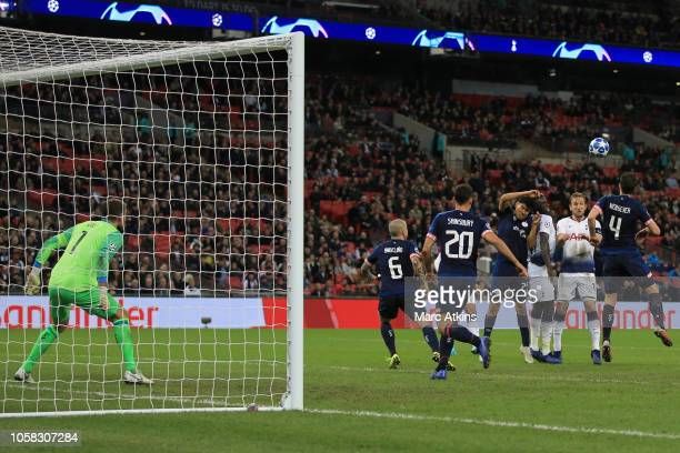 Harry Kane of Tottenham Hotspur scortestheir 2nd goal during the Group B match of the UEFA Champions League between Tottenham Hotspur and PSV at...
