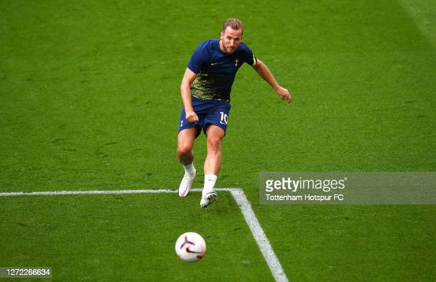 Harry Kane of Tottenham Hotspur shoots as he warms up prior to the Premier League match between Tottenham Hotspur and Everton at Tottenham Hotspur...