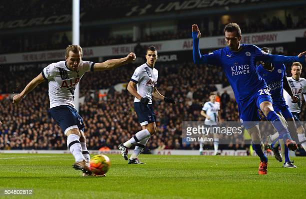 Harry Kane of Tottenham Hotspur shoots at goal during the Barclays Premier League match between Tottenham Hotspur and Leicester City at White Hart...