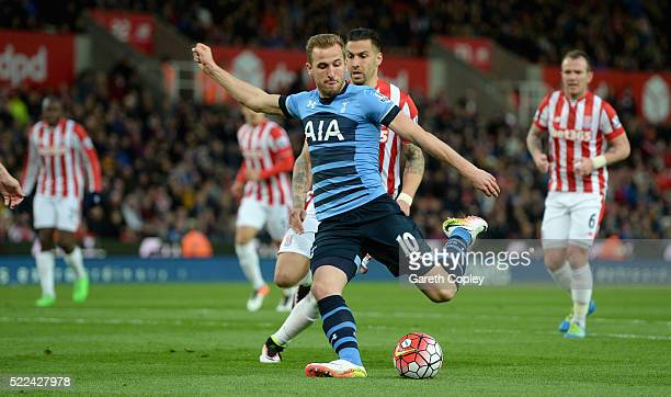 Harry Kane of Tottenham Hotspur shoots at goal during the Barclays Premier League match between Stoke City and Tottenham Hotspur at the Britannia...