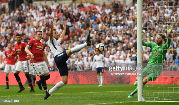Harry Kane of Tottenham Hotspur shoots during The Emirates FA Cup Semi Final match between Manchester United and Tottenham Hotspur at Wembley Stadium...