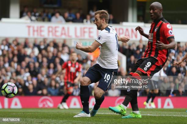 Harry Kane of Tottenham Hotspur shoots during the Premier League match between Tottenham Hotspur and AFC Bournemouth at White Hart Lane on April 15...