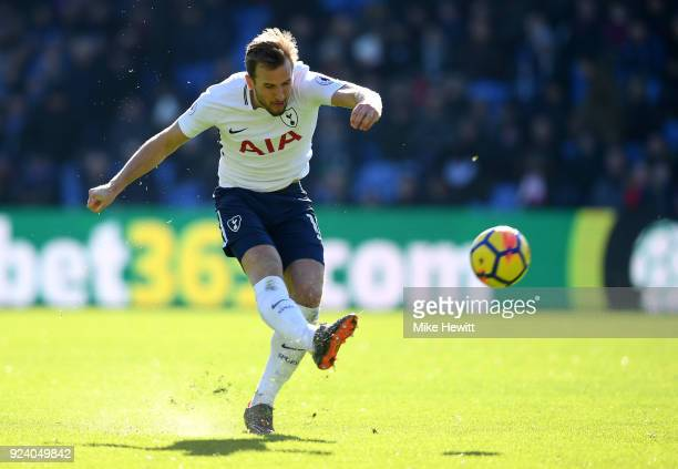 Harry Kane of Tottenham Hotspur shoots during the Premier League match between Crystal Palace and Tottenham Hotspur at Selhurst Park on February 25...