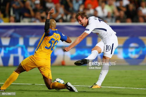 Harry Kane of Tottenham Hotspur shoots during the UEFA Champions League Group H match between Apoel Nicosia and Tottenham Hotspur at GSP Stadium on...