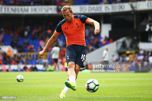 Harry Kane of Tottenham Hotspur shoots during the warm up during the Premier League match between Tottenham Hotspur and Liverpool at White Hart Lane...