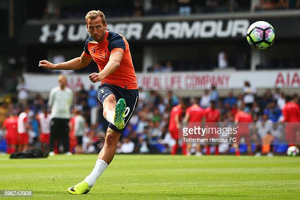 Harry Kane of Tottenham Hotspur shoots during the warm up piror to kick off during the Premier League match between Tottenham Hotspur and Liverpool...