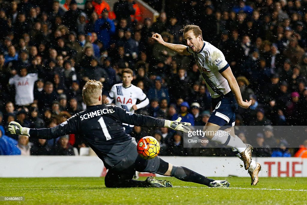 Harry Kane of Tottenham Hotspur shoots past Kasper Schmeichel of Leicester City during the Barclays Premier League match between Tottenham Hotspur and Leicester City at White Hart Lane on January 13, 2016 in London, England.