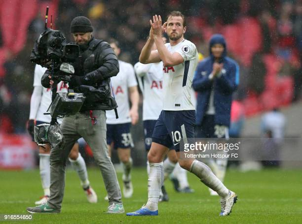Harry Kane of Tottenham Hotspur shows appreciation to the fans following the Premier League match between Tottenham Hotspur and Arsenal at Wembley...