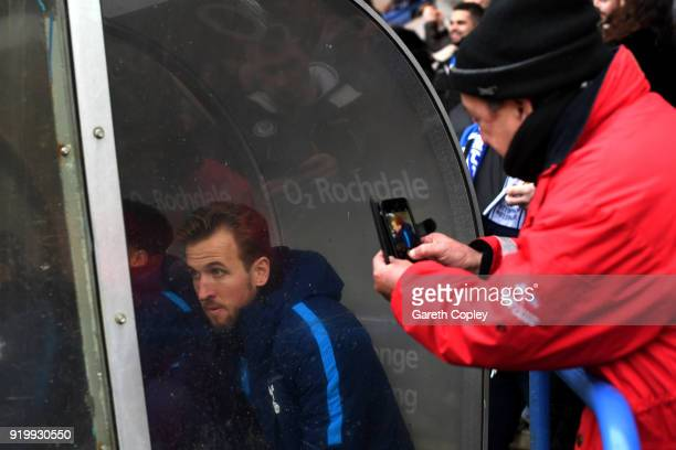 Harry Kane of Tottenham Hotspur sits on the bench during The Emirates FA Cup Fifth Round match between Rochdale and Tottenham Hotspur on February 18...