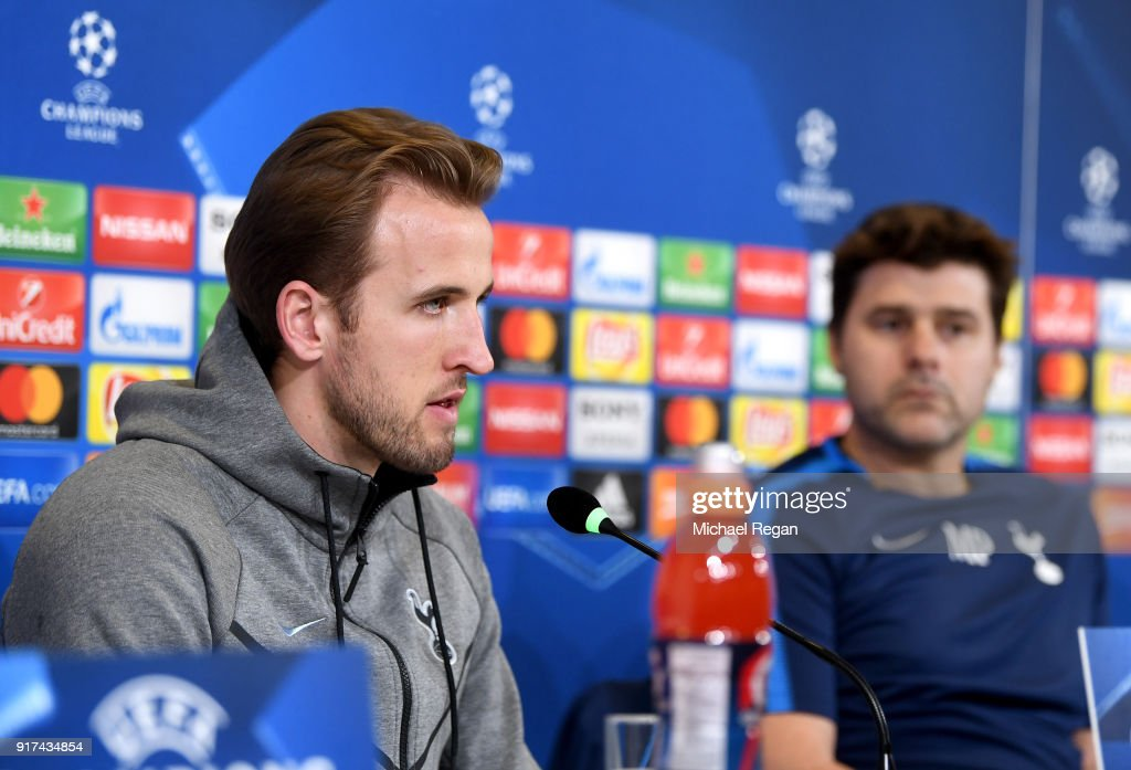 Harry Kane of Tottenham Hotspur speaks to the media during the press conference at Allianz Stadium on February 12, 2018 in Turin, Italy.