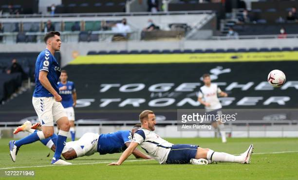 Harry Kane of Tottenham Hotspur stretches for the ball during the Premier League match between Tottenham Hotspur and Everton at Tottenham Hotspur...