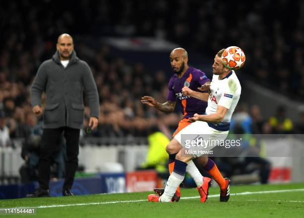 Harry Kane of Tottenham Hotspur tackle Fabian Delph of Manchester City leading to an injury for Harry Kane during the UEFA Champions League Quarter...