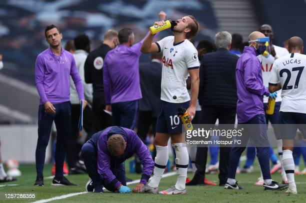 Harry Kane of Tottenham Hotspur takes a drink during the Premier League match between Tottenham Hotspur and Leicester City at Tottenham Hotspur...