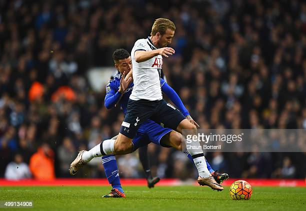Harry Kane of Tottenham Hotspur takes on Kenedy of Chelsea during the Barclays Premier League match between Tottenham Hotspur and Chelsea at White...