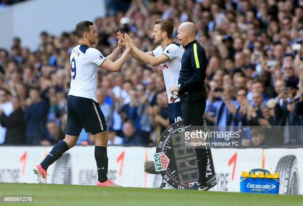 Harry Kane of Tottenham Hotspur takes the place of Vincent Janssen as a substitute during the Premier League match between Tottenham Hotspur and...
