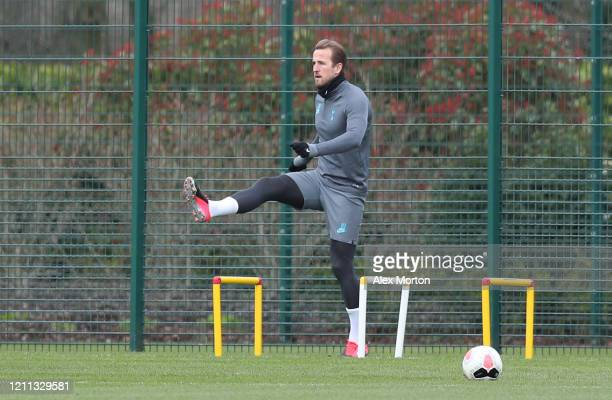 Harry Kane of Tottenham Hotspur trains during the Tottenham Hotspur training session at The Tottenham Hotspur Training Centre on March 09, 2020 in...