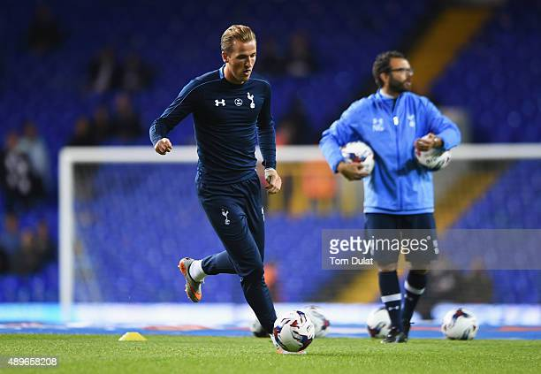 Harry Kane of Tottenham Hotspur warms up prior to the Capital One Cup third round match between Tottenham Hotspur and Arsenal at White Hart Lane on...