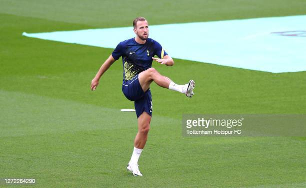 Harry Kane of Tottenham Hotspur warms up prior to the Premier League match between Tottenham Hotspur and Everton at Tottenham Hotspur Stadium on...