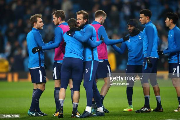 Harry Kane of Tottenham Hotspur warms up prior to the Premier League match between Manchester City and Tottenham Hotspur at Etihad Stadium on...