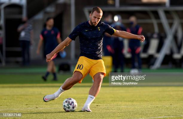 Harry Kane of Tottenham Hotspur warms up prior to the UEFA Europa League second qualifying round match between Lokomotiv Plovdiv and Tottenham...